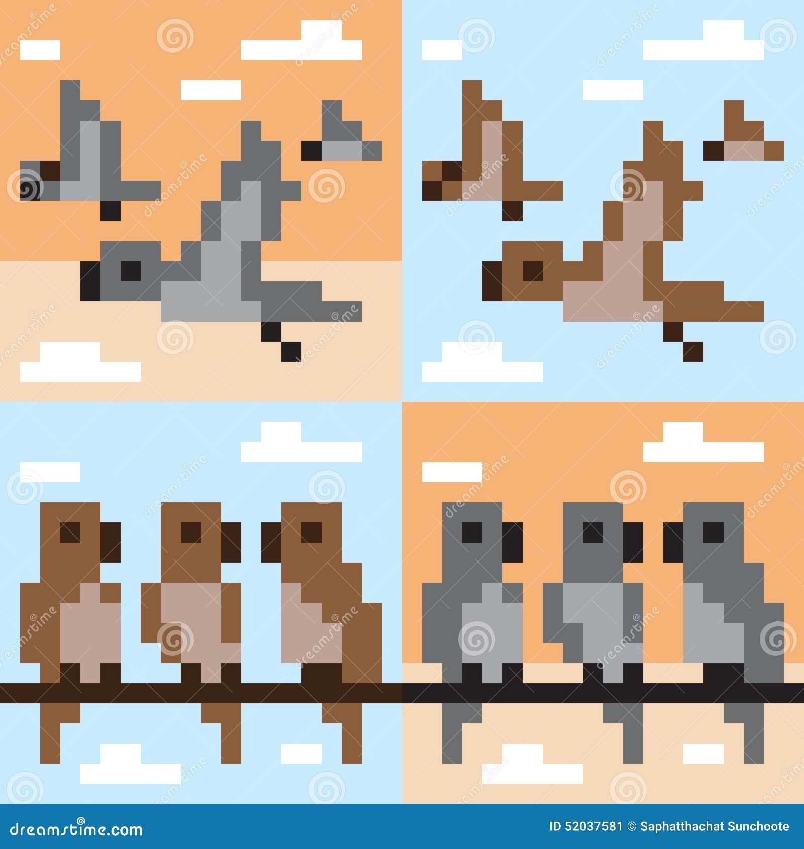 Mouche d 39 oiseau d 39 art de pixel de mod le illustration de vecteur illustration 52037581 - Oiseau mouche dessin ...