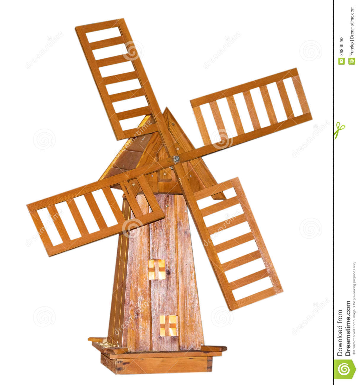 Moulin vent en bois sur le fond blanc photo stock - Moulin a vent deco exterieur ...