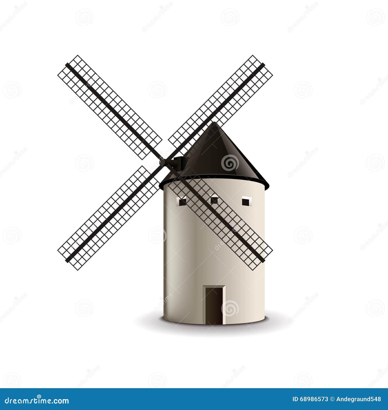 Moulin à vent sur le vecteur blanc