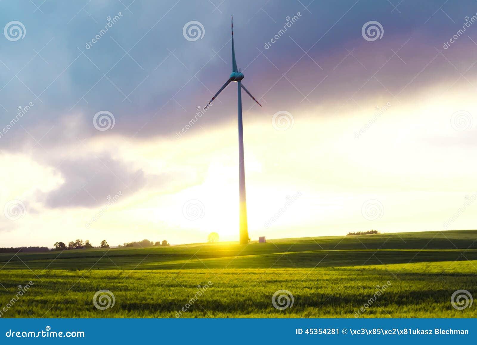 Moulin à vent sur un pré - paysage de Masurian