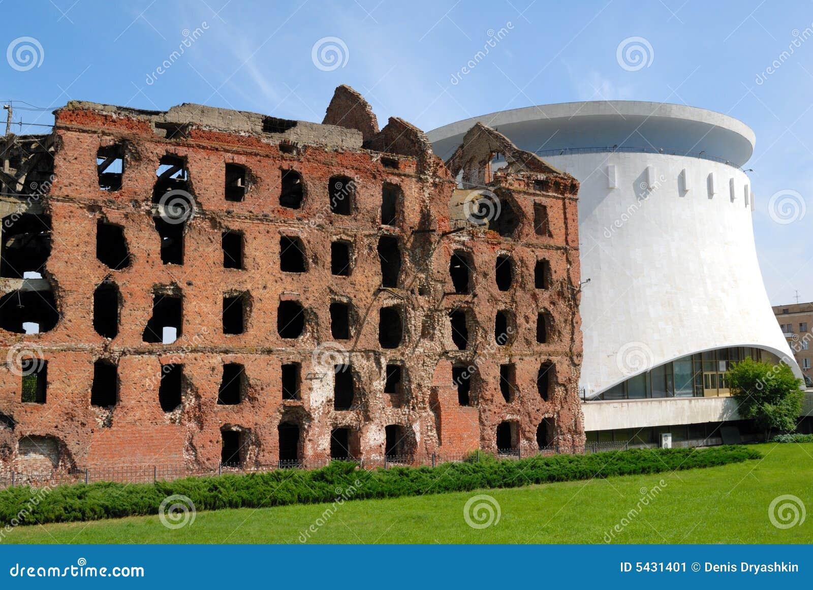 Moulin détruit par combat Volgograd de Stalingrad de panorama de musée