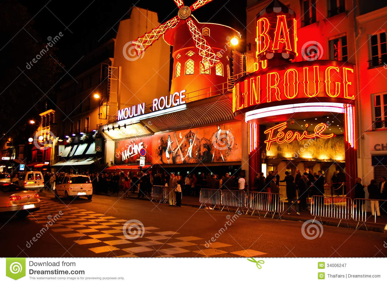 moulin rouge at paris in france editorial photography image 34006247. Black Bedroom Furniture Sets. Home Design Ideas