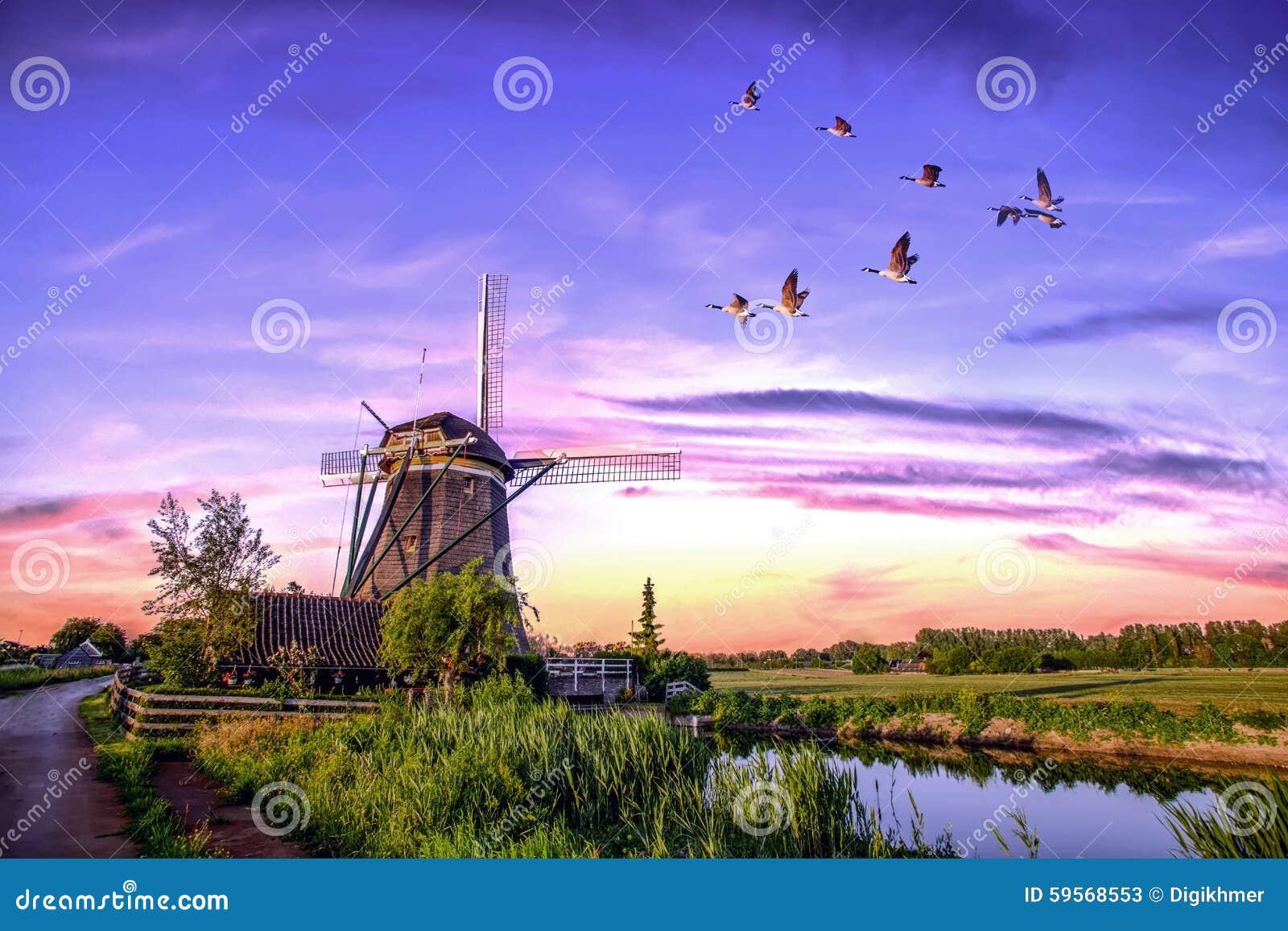 Moulins à vent néerlandais de lever de soleil