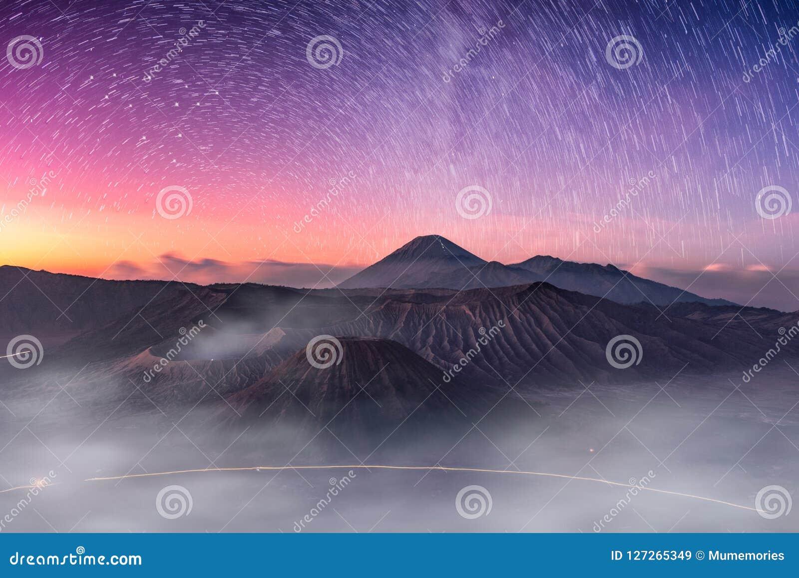 Mount active volcano, Batok, Bromo, Semeru with starry and fog a