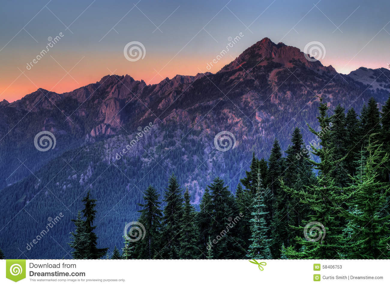 Mountain in sunset light in Olympic National Park, Washington state
