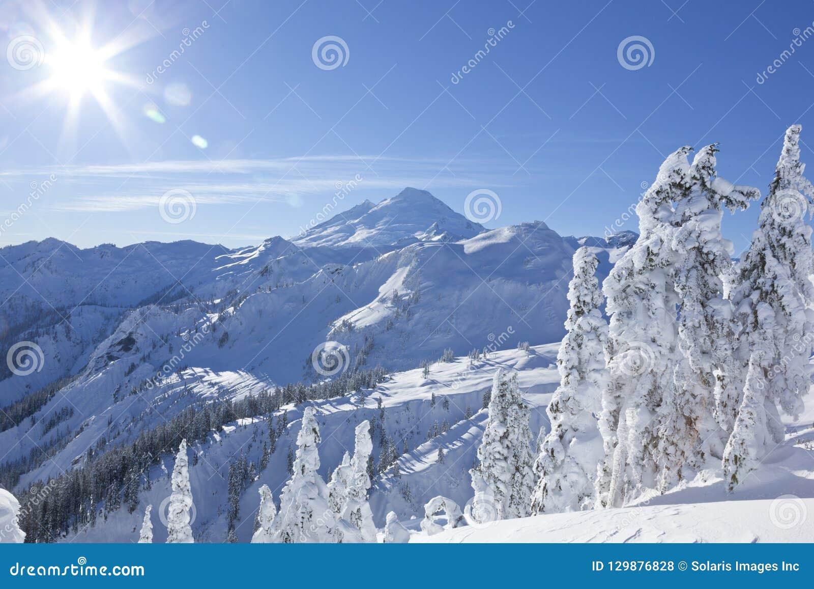 Mount Baker mountain peak summit, North Cascades National Park winter nature scene
