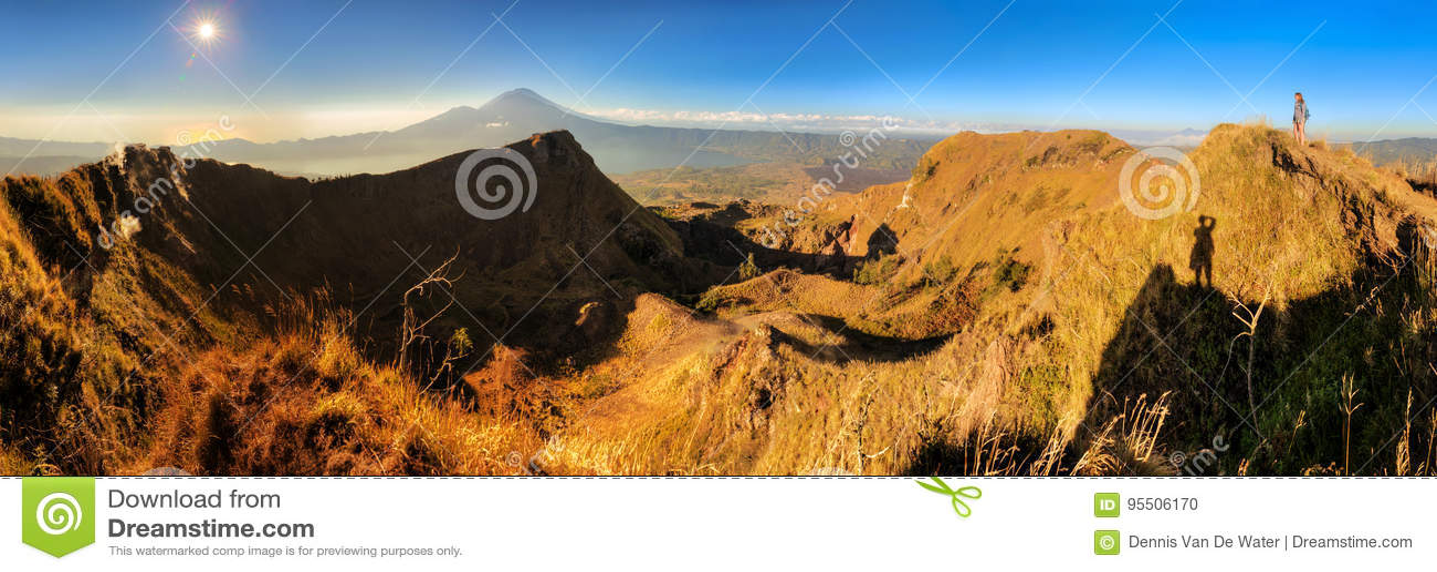 Mount Batur sunrise panorama