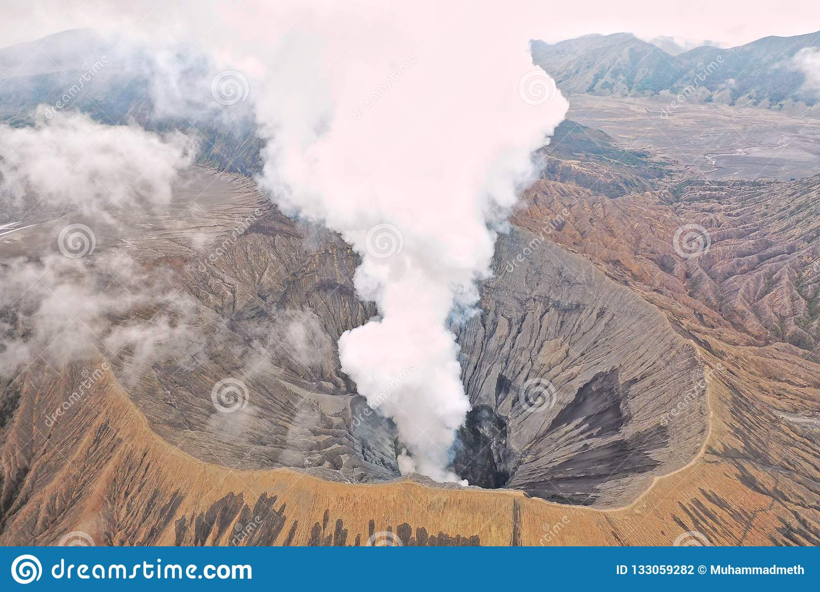 View of Mount Bromo crater