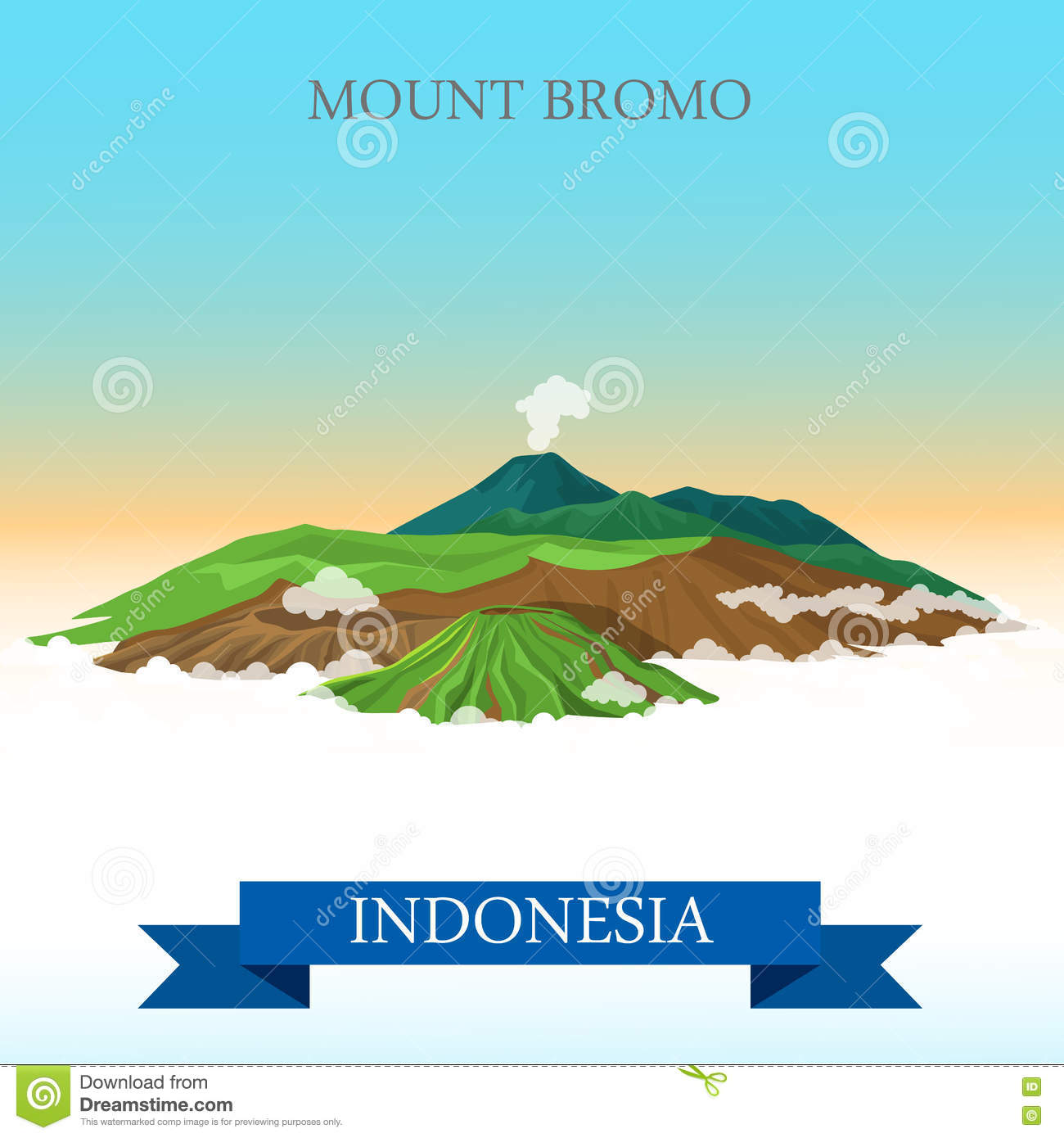 Download comp Mount Bromo In Indonesia Vector