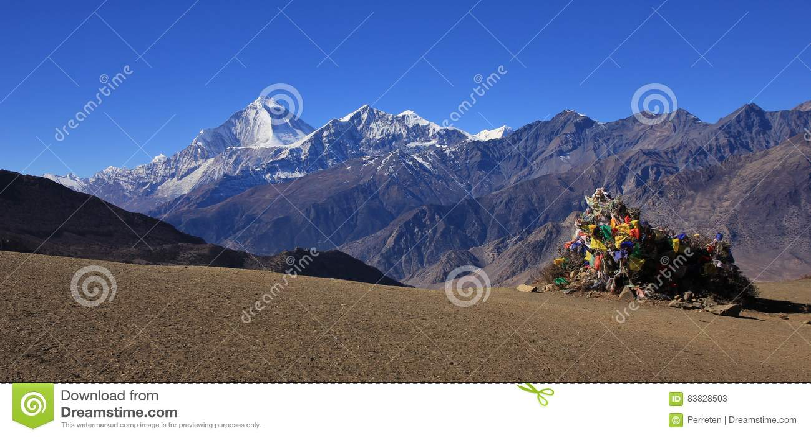 Mount Dhaulagiri and Tukuche Peak seen from Muktinath