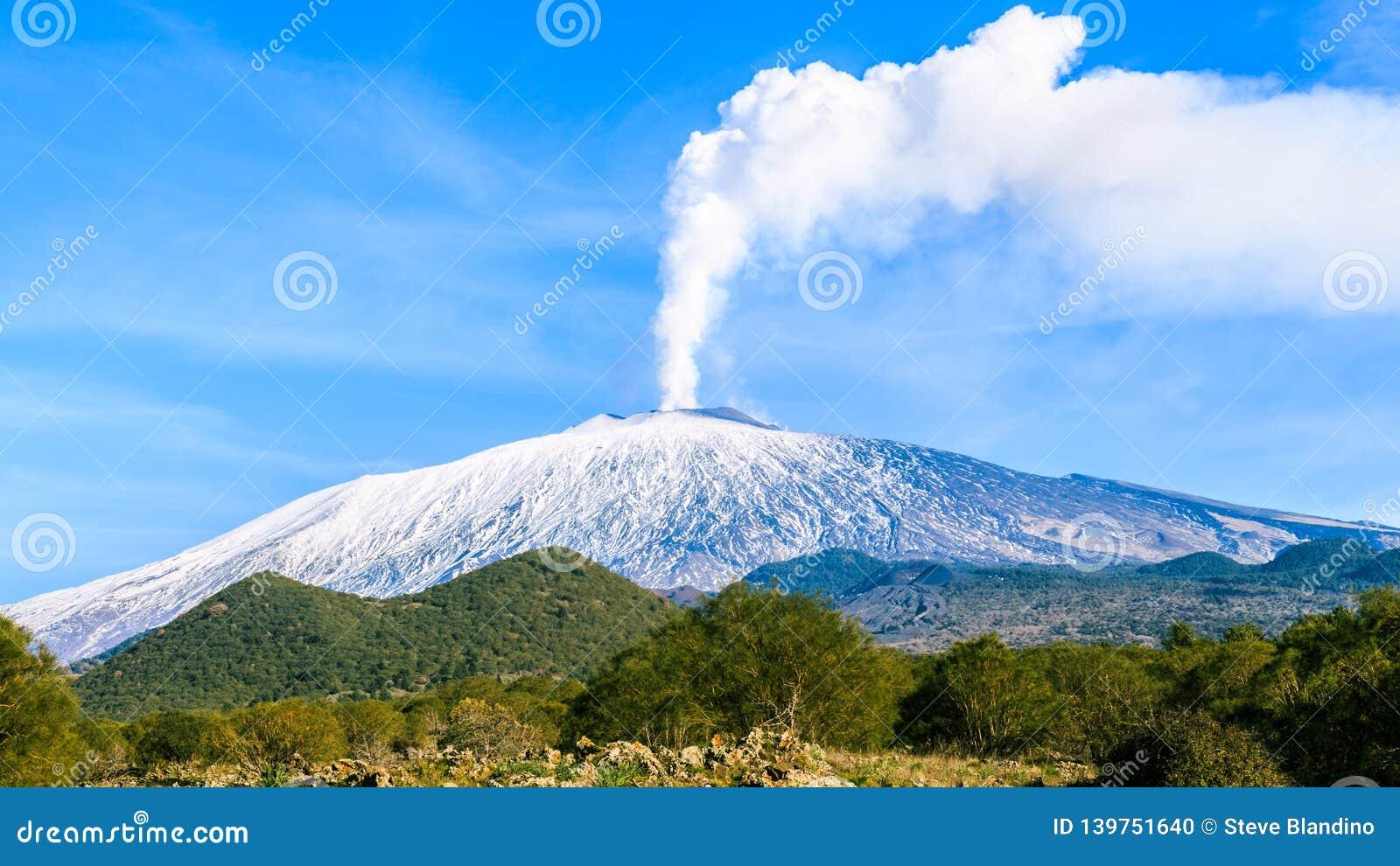 Mount Etna gas emission. Tremor, gases.