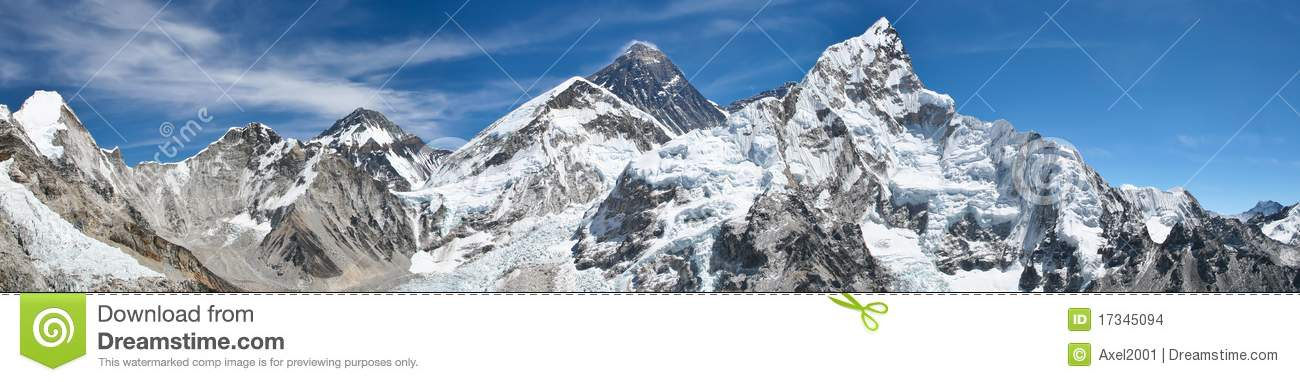 Mount Everest Panorama View Stock Photo - Image of everest