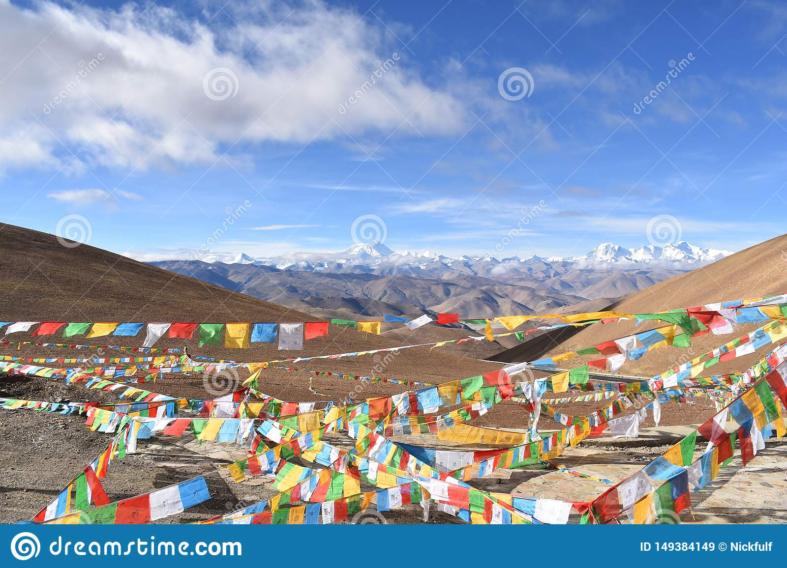 Mount Everest with prayer flags in foreground