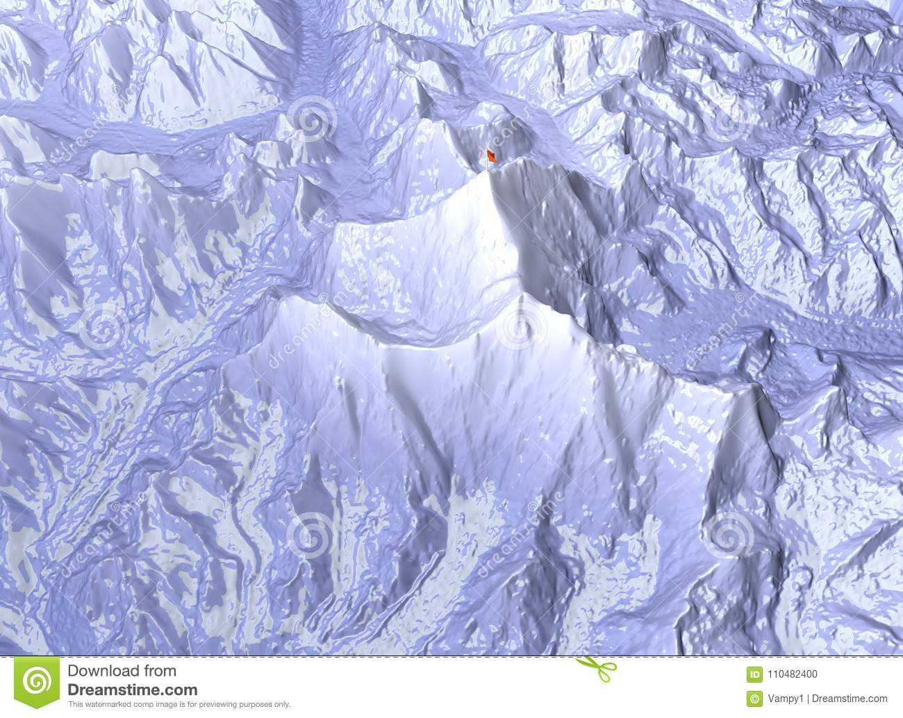 Mount Everest Relief Height Mountains Himalaya Map Stock