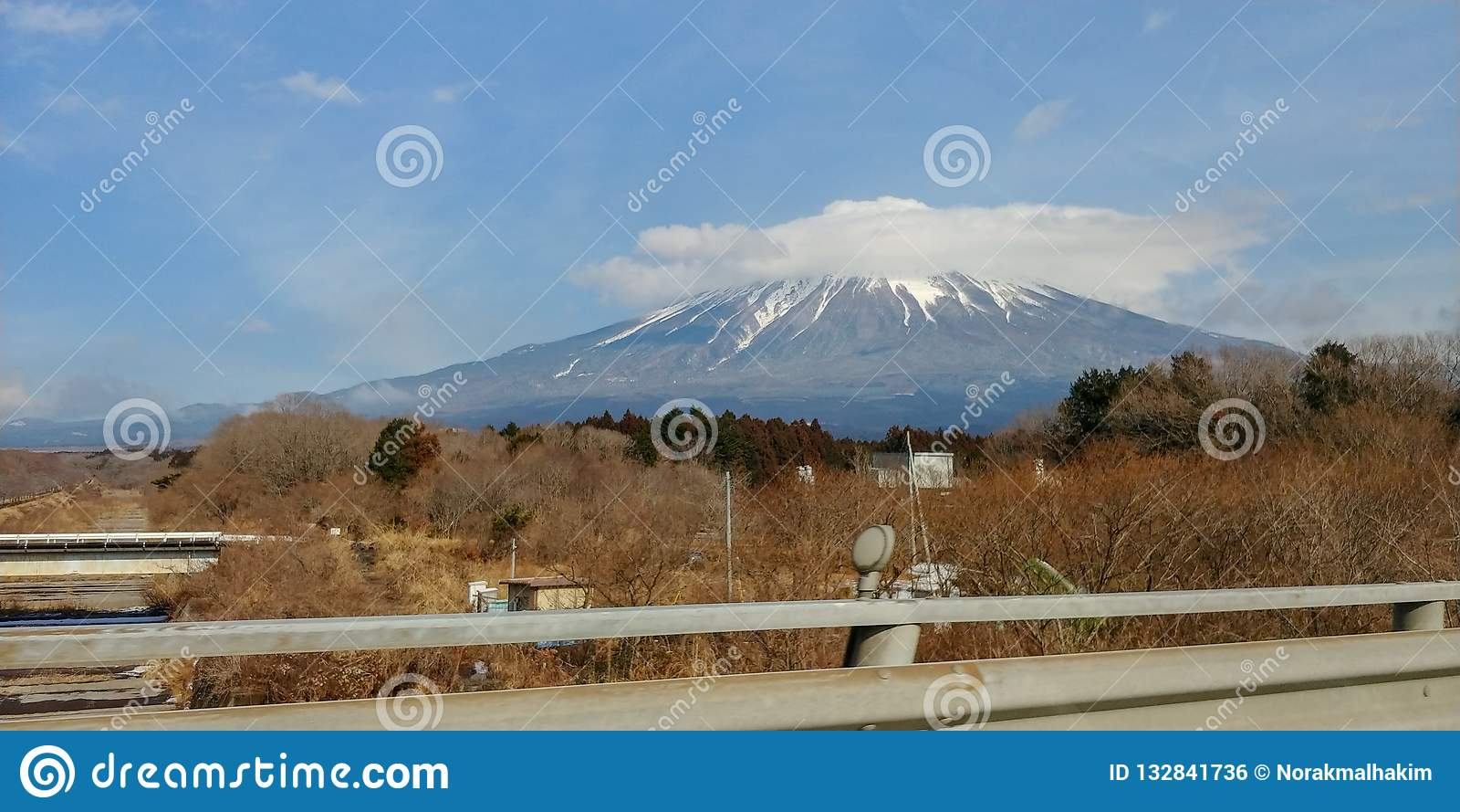 Mount Fuji on the road