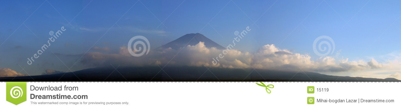 Mount Fuji surrounded by clouds - panorama