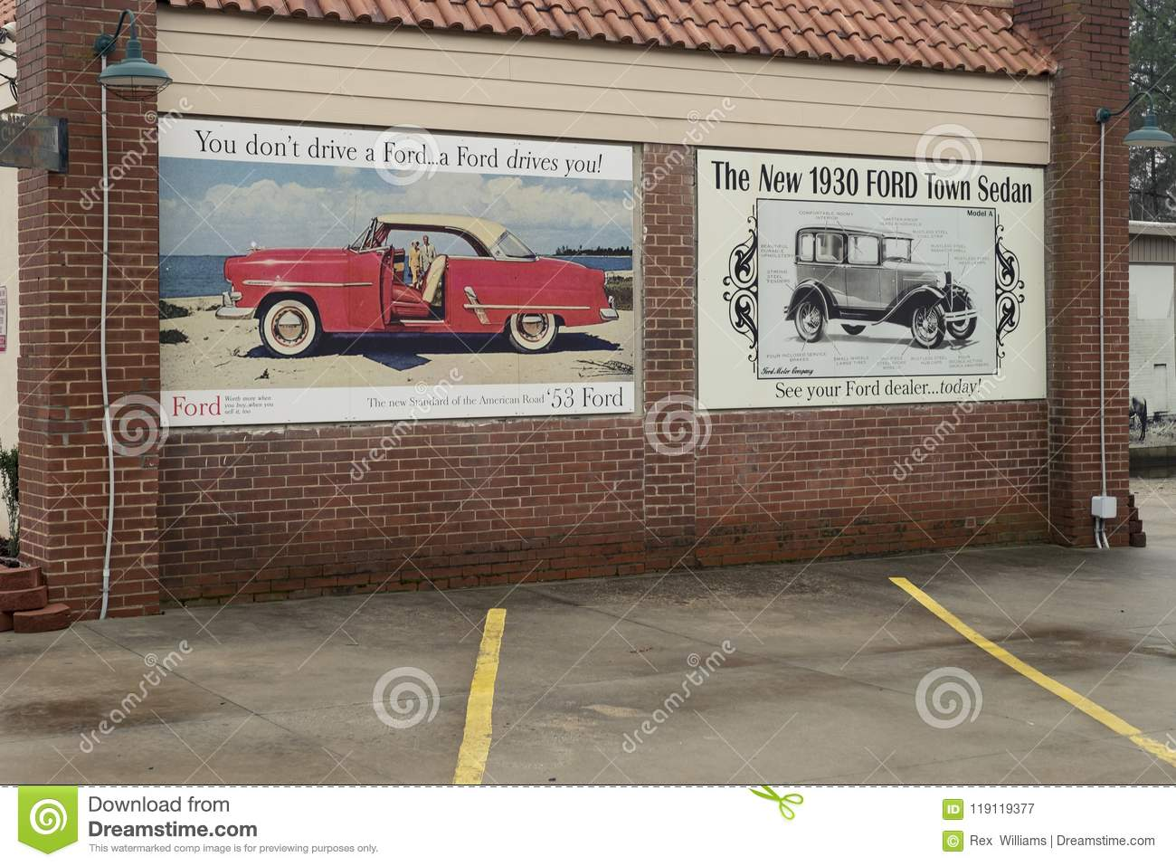 Ford Dealerships In Nc >> Mount Gilead Nc Apr 07 2018 Historical Record Art Mural
