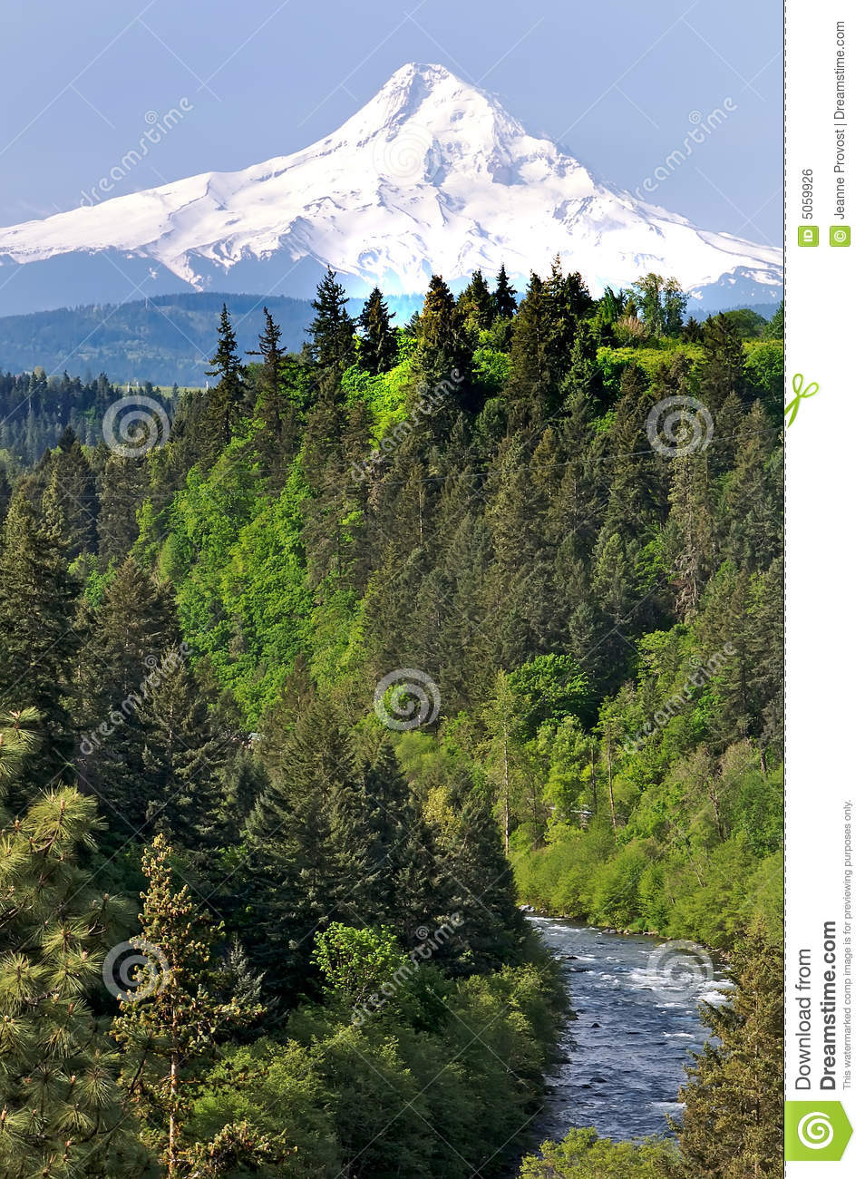 Mount Hood with River in Foreground