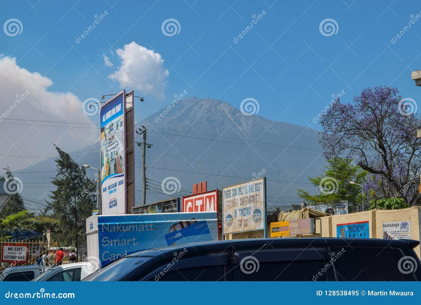 Mount Meru seen from Arusha Town, Tanzania