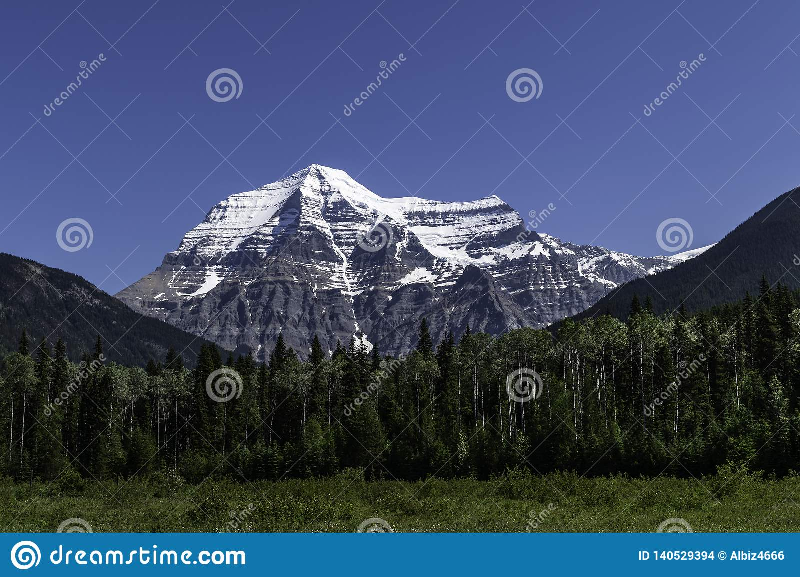 Mount Robson In The Rocky Mountains In British Columbia