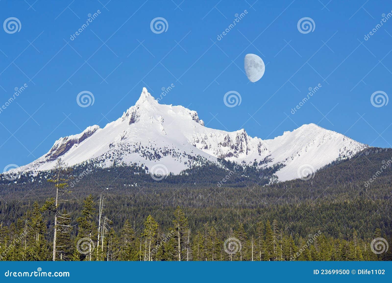 winter snow mountain moon - photo #37