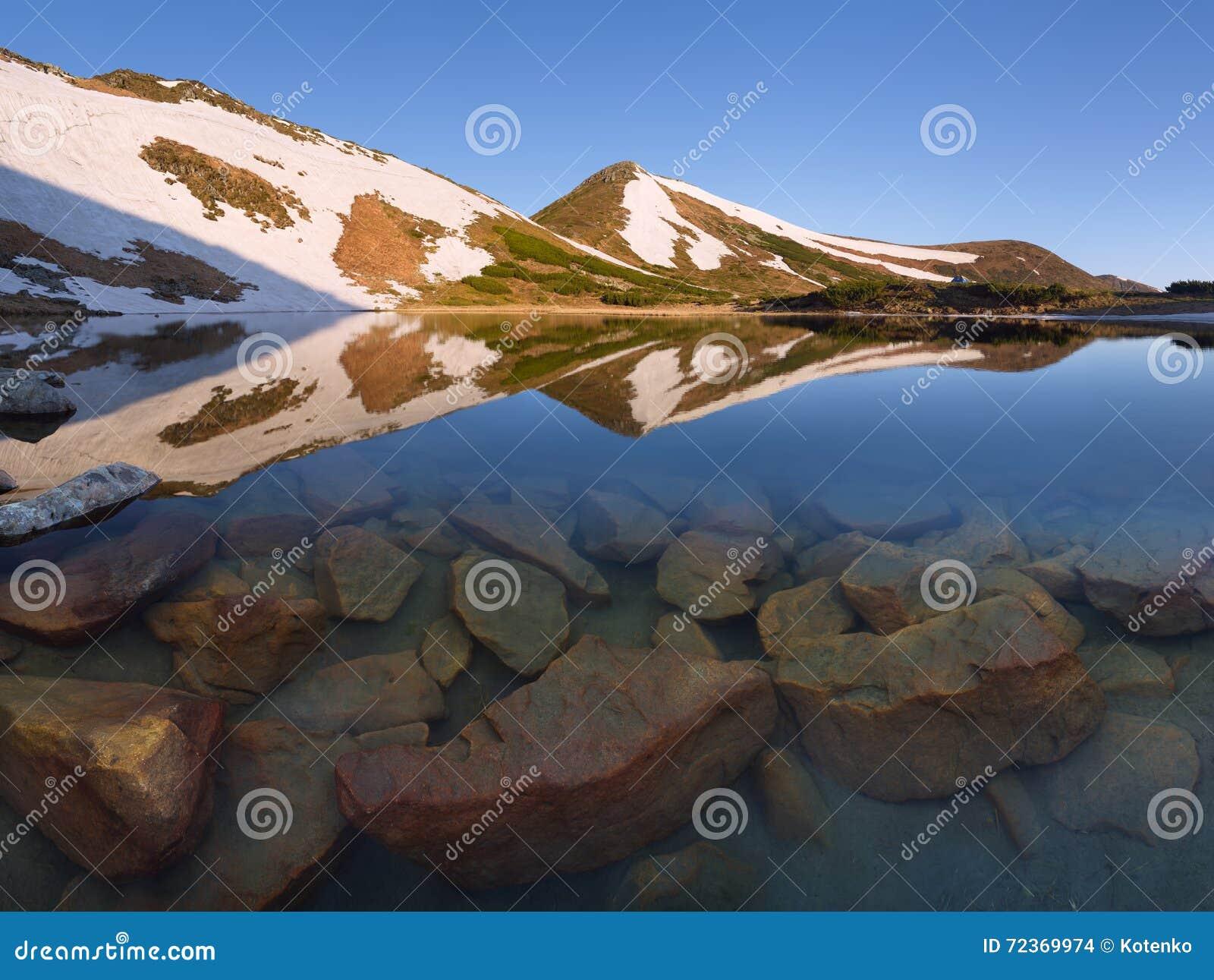 Mountain湖在春天