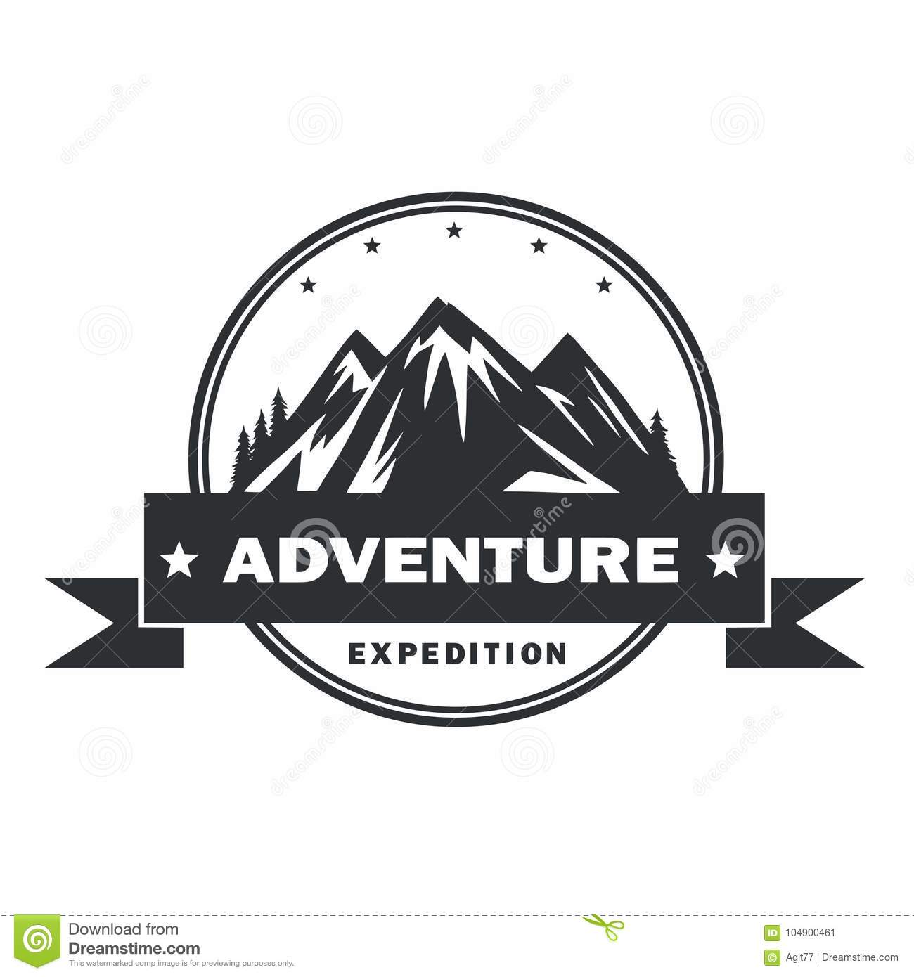 mountain adventure logo design template stock vector illustration
