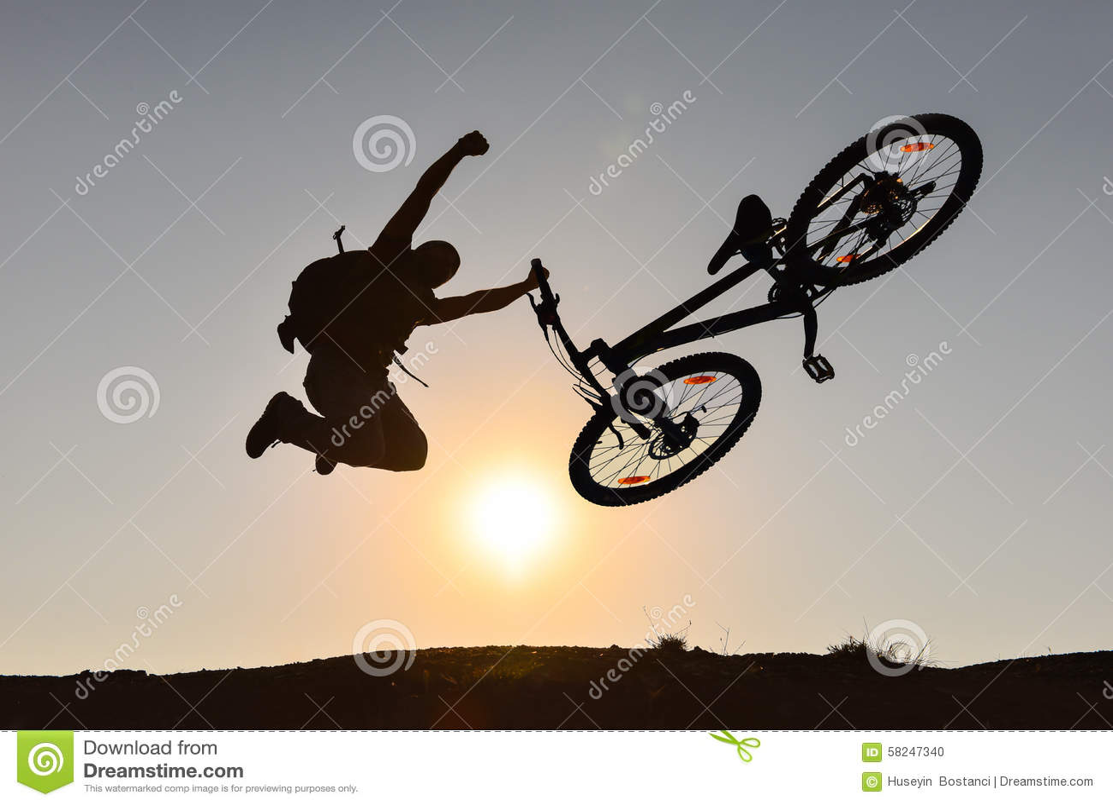 Mountain bike and crazy rider