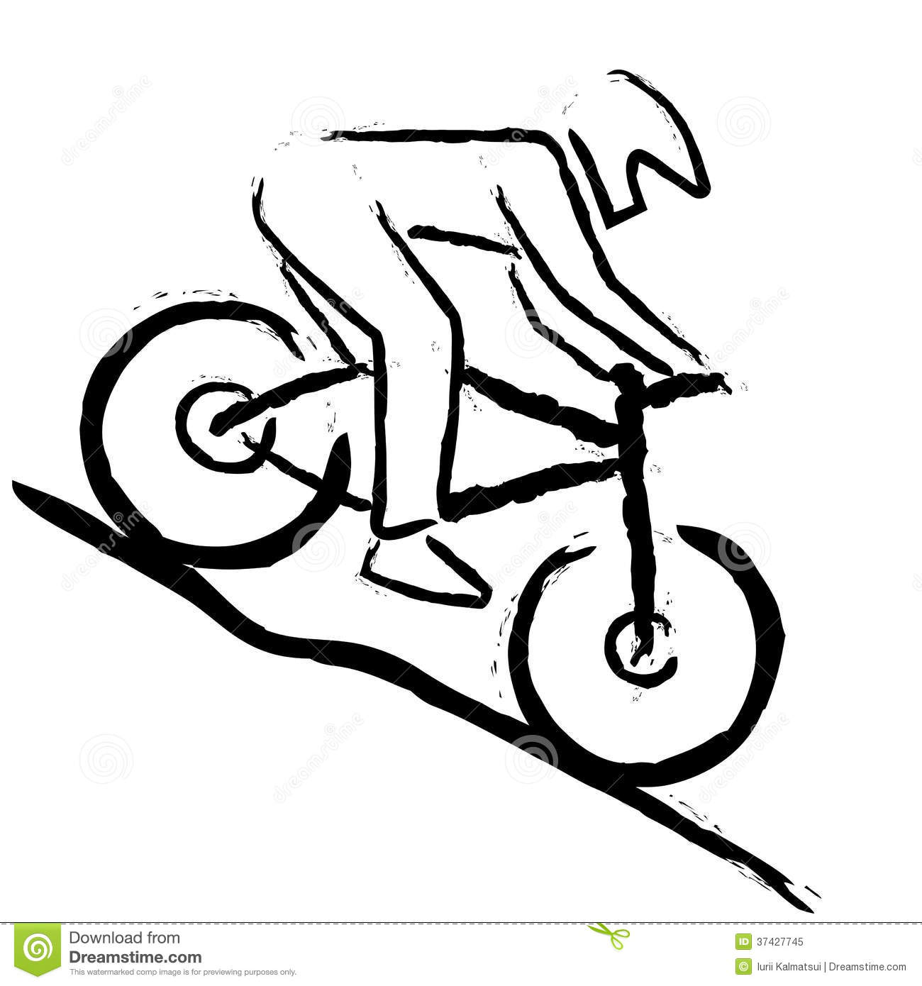 Illustration of stylized mountain biker which is riding downhill.