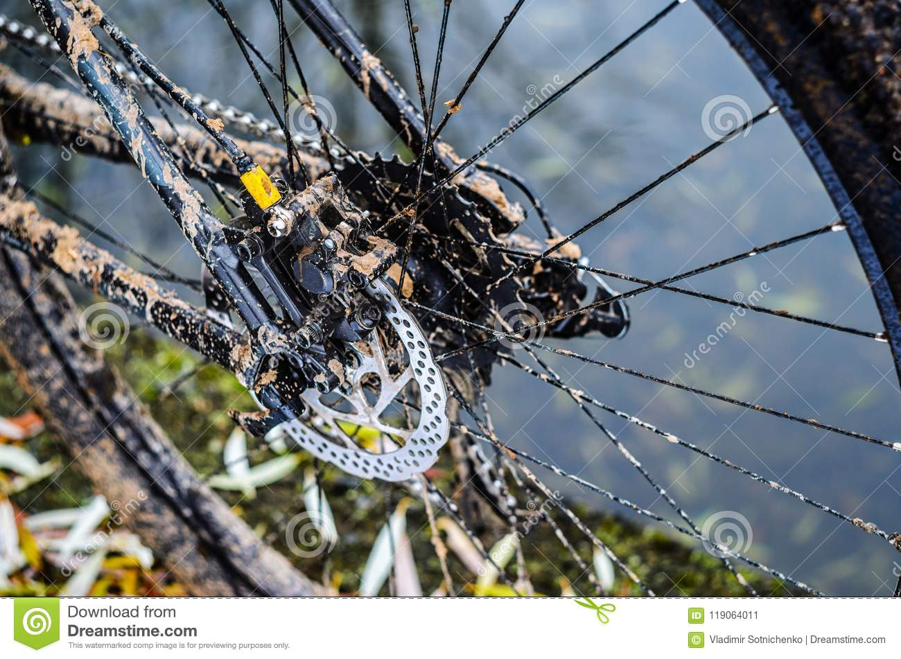 Mountain Bike Transmission In Mud Stock Image Image Of Rubber Pedal 119064011