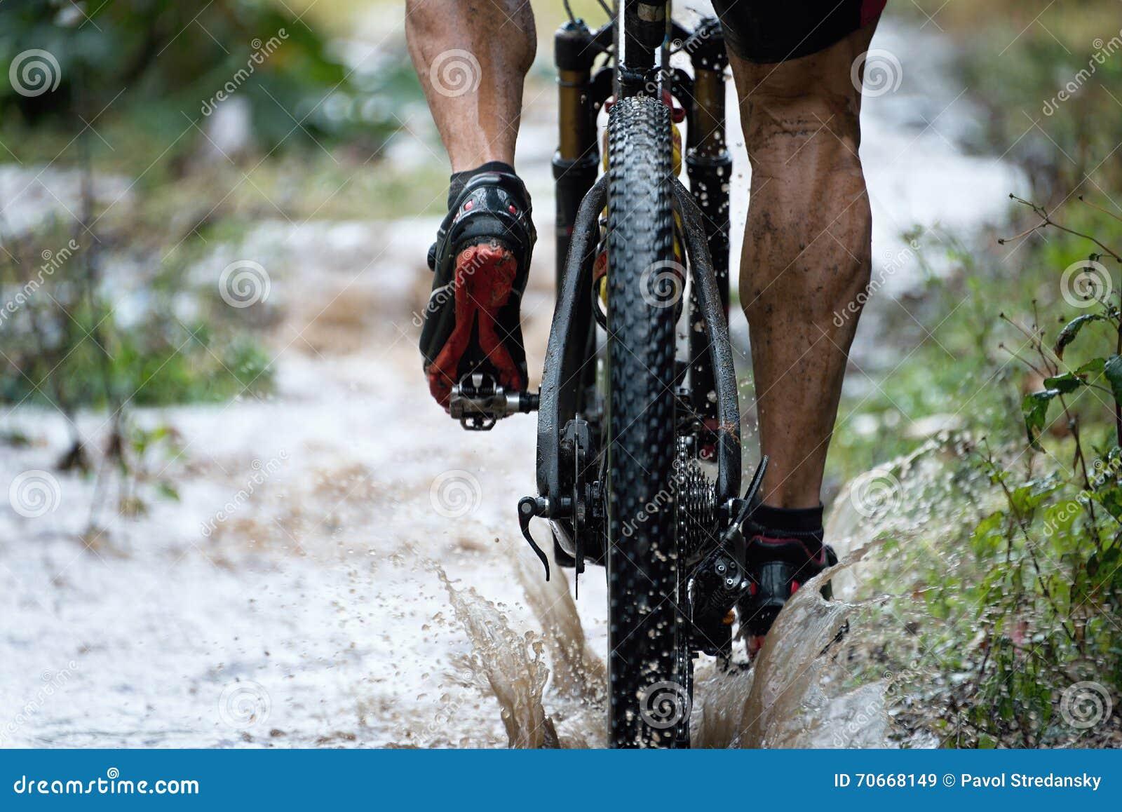 Mountain biker driving