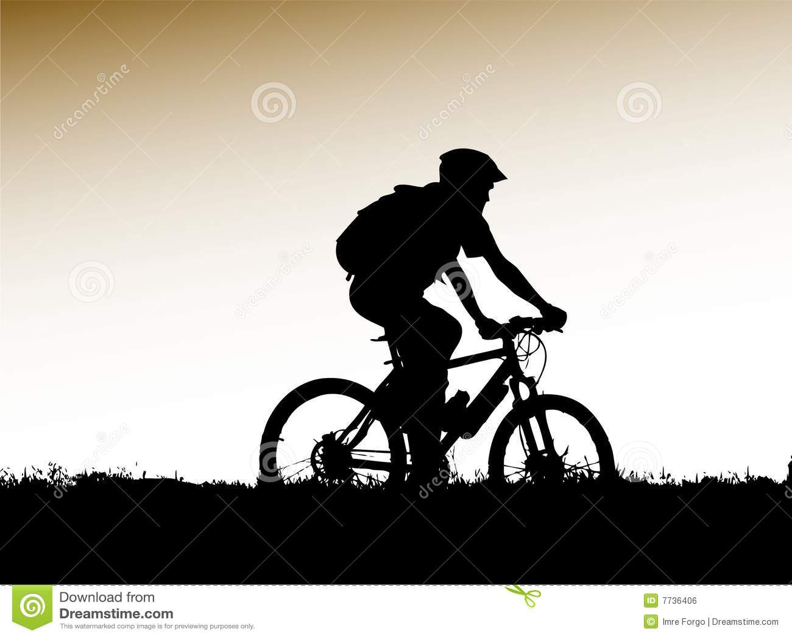 Mountain Biker Silhouette Stock Vector Image Of Race