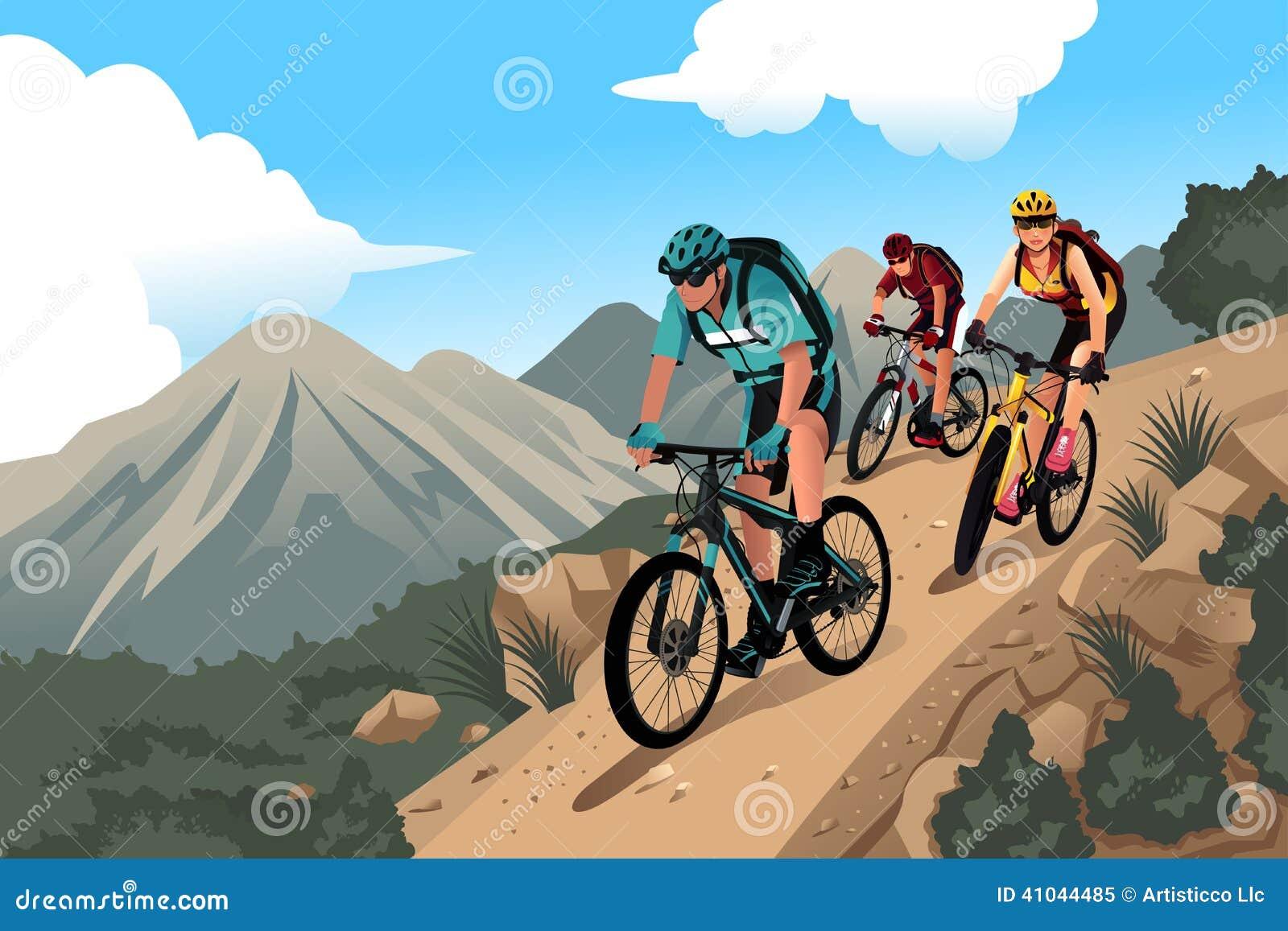 Mountain Bikers In The Stock Vector