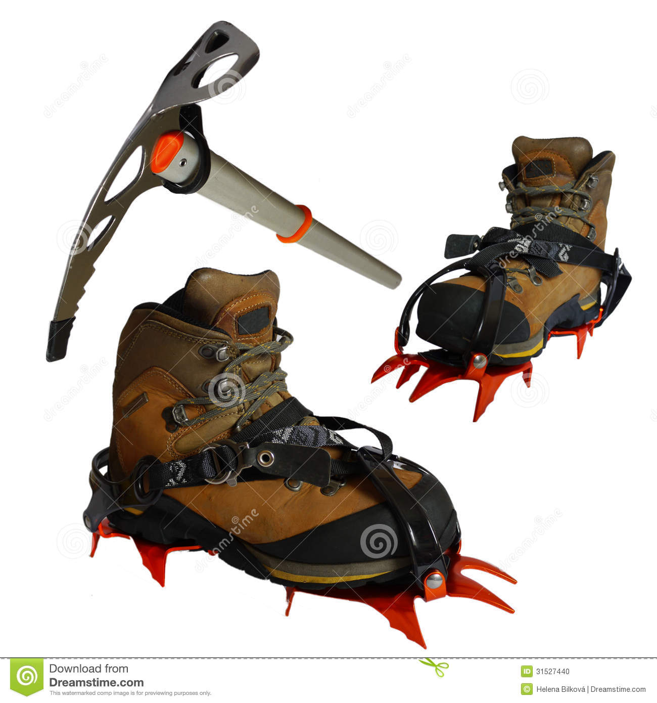 Mountain Boots, Ice Ax, Crampons, Isolated Stock Photo ...