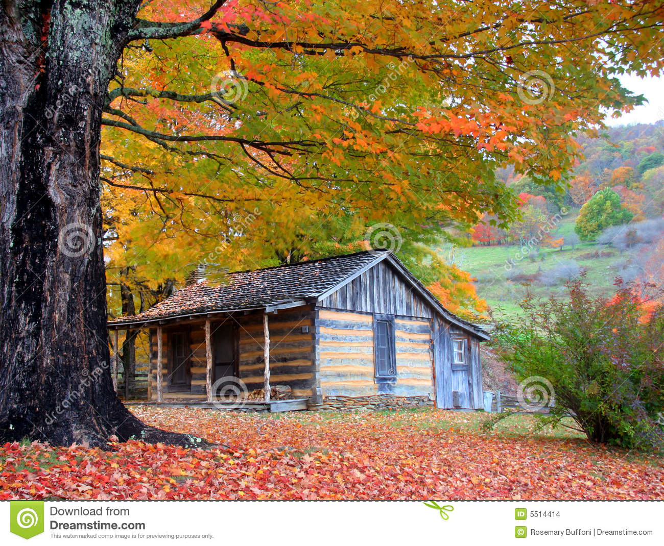 Mountain cabin in autumn stock photo image of october
