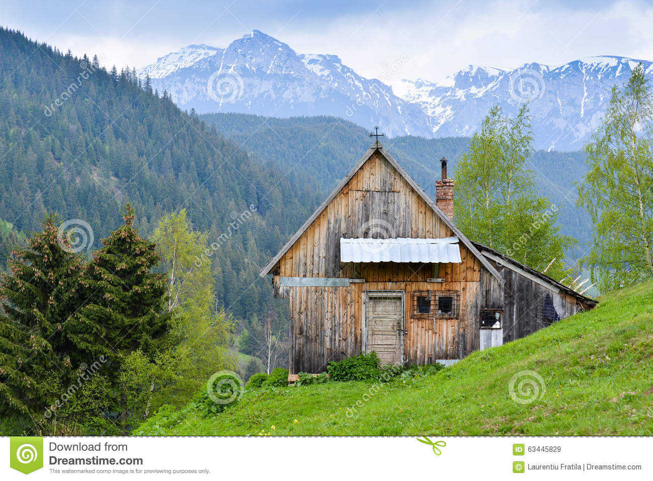 Mountain Cabin Stock Image Image Of Mountain Forest 63445829