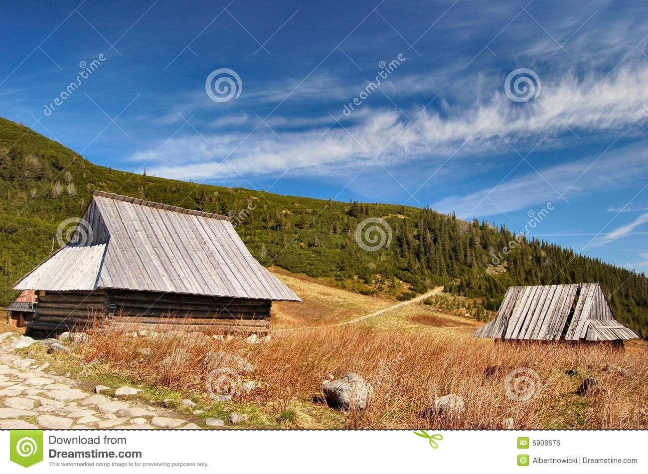Mountain cabin cottage in polish tatra mountains royalty for Cottage in the mountains