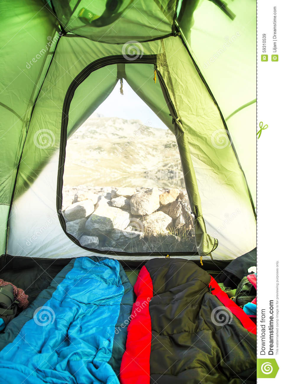 Mountain Camping Tent Inside View Stock Image - Image of