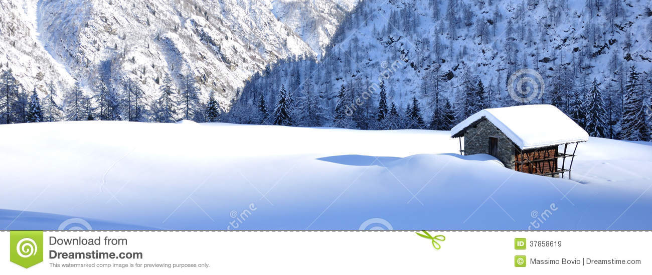 Download Mountain Chalet In The Snow Landscape Stock Image - Image of europe, forest: 37858619