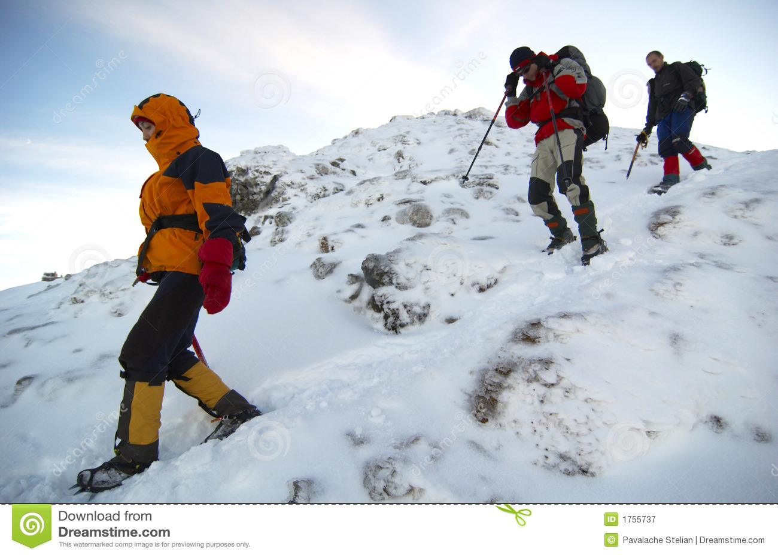 Mountain Climbers Descending The Mountain Royalty Free