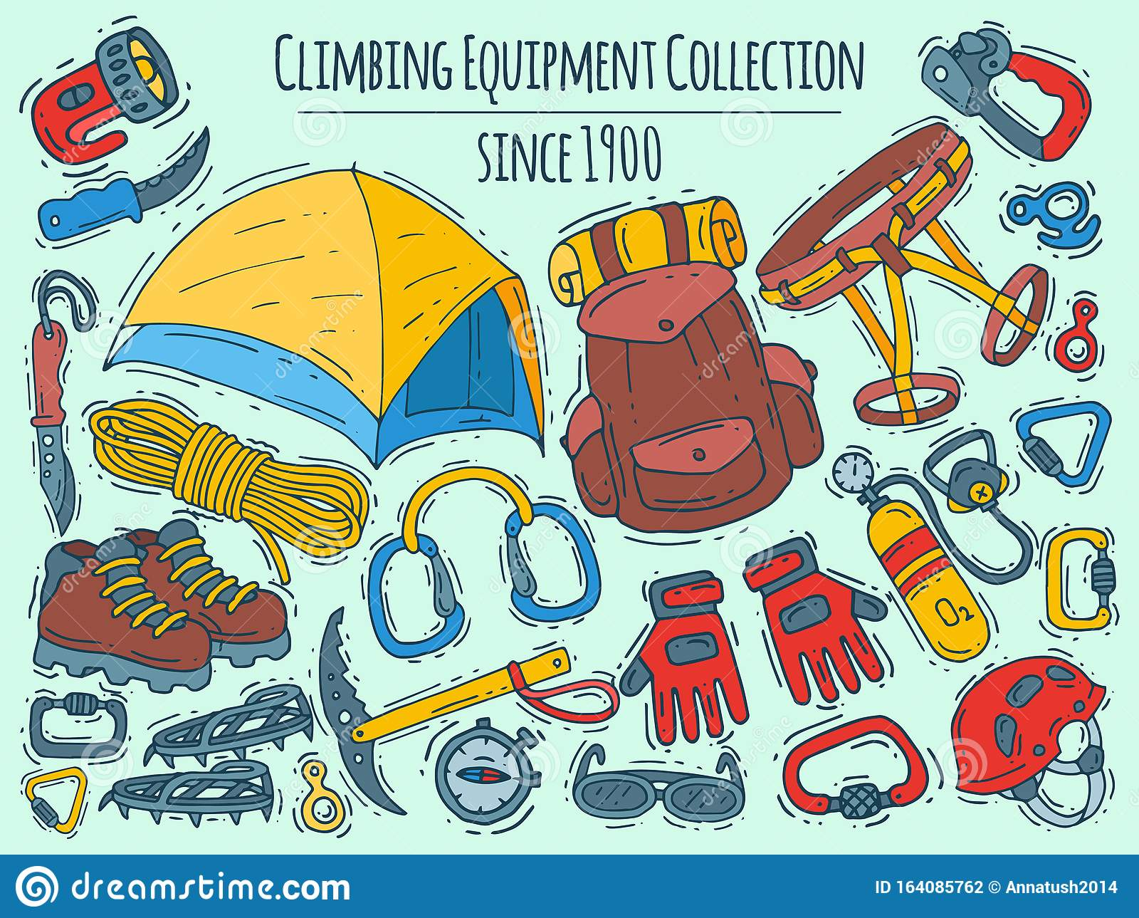 Mountain Climbing, Alpinism And Mountaineering Cartoon Symbols Banner.  Hiking Equipment Vector Illustration. Hike For Stock Vector - Illustration  of activity, backpack: 164085762