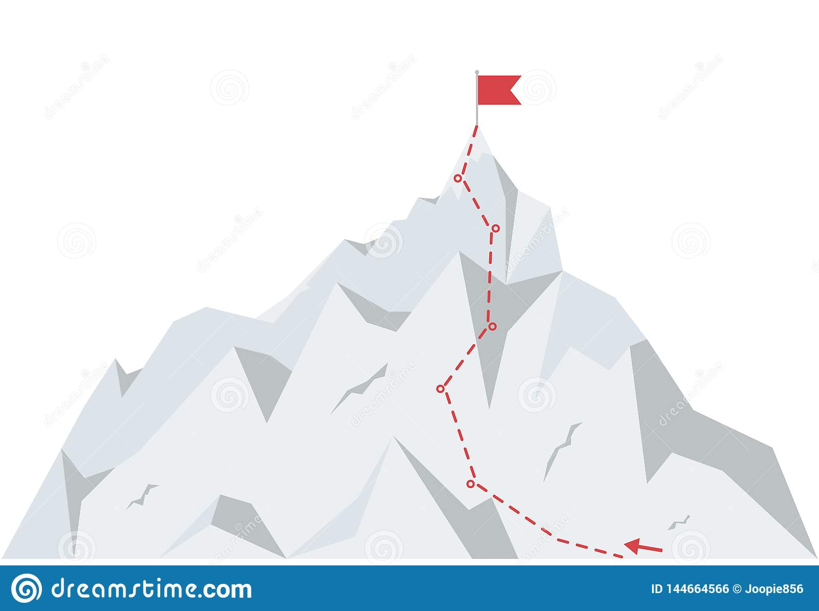 Mountain climbing route to peak. Business journey path to success. Vector illustration in flat style.
