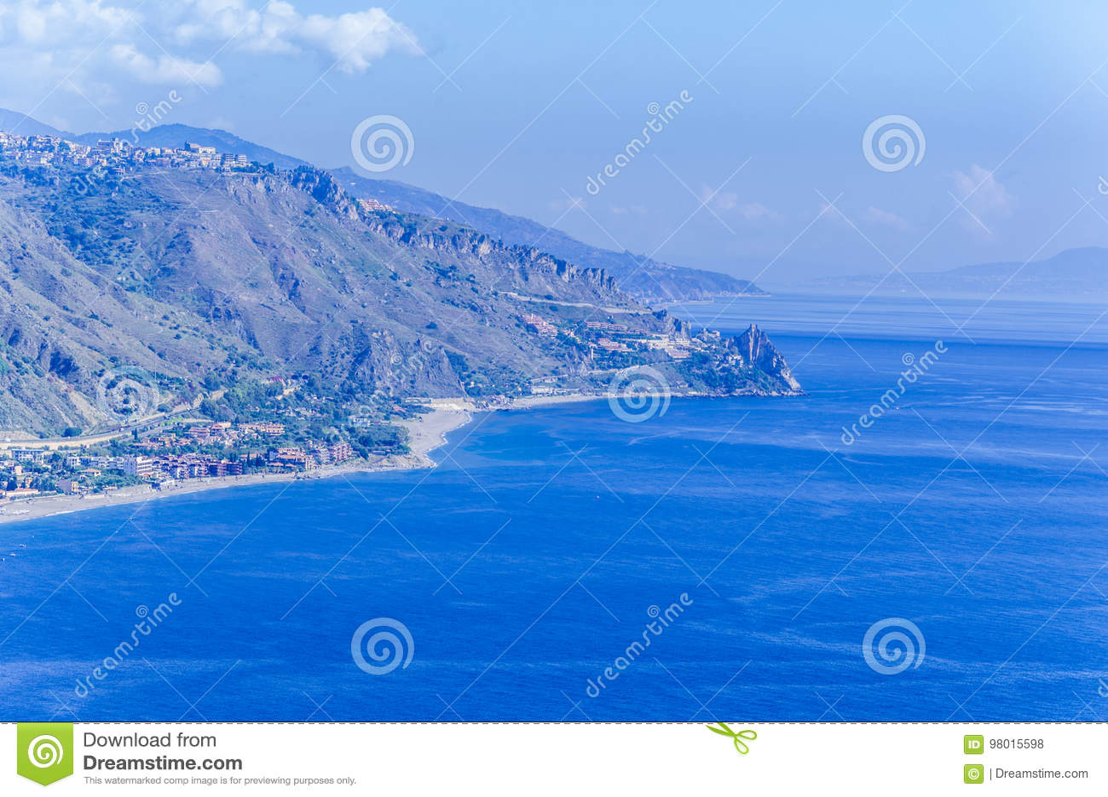Mountain coasts and sicilian beaches in and around taormina