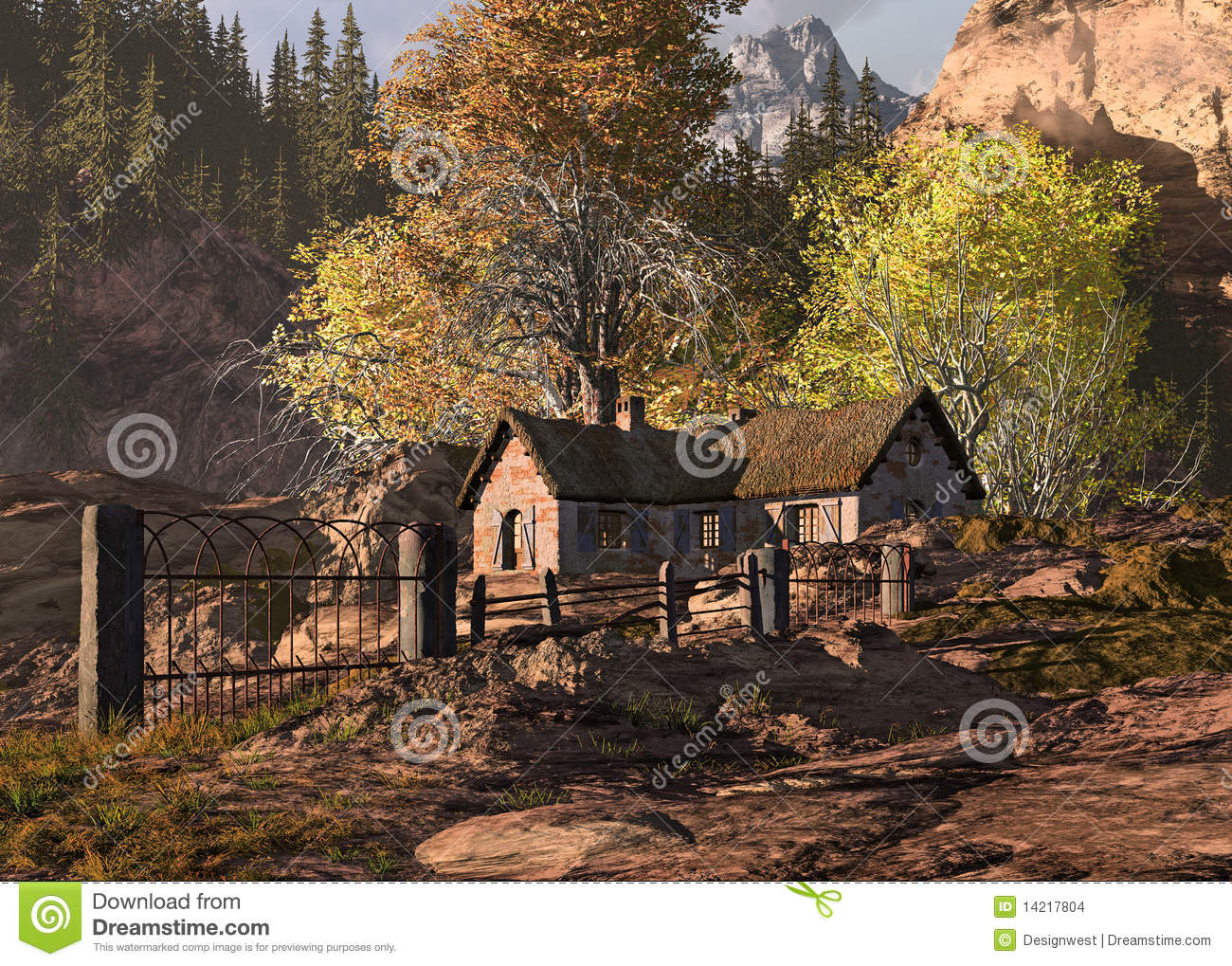 Mountain cottage and gate landscape stock images image for Cottage in the mountains