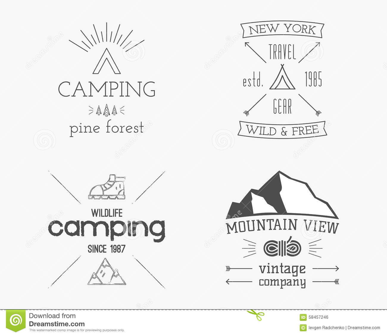Mountain And Family Forest Camp Badge Logo And Stock