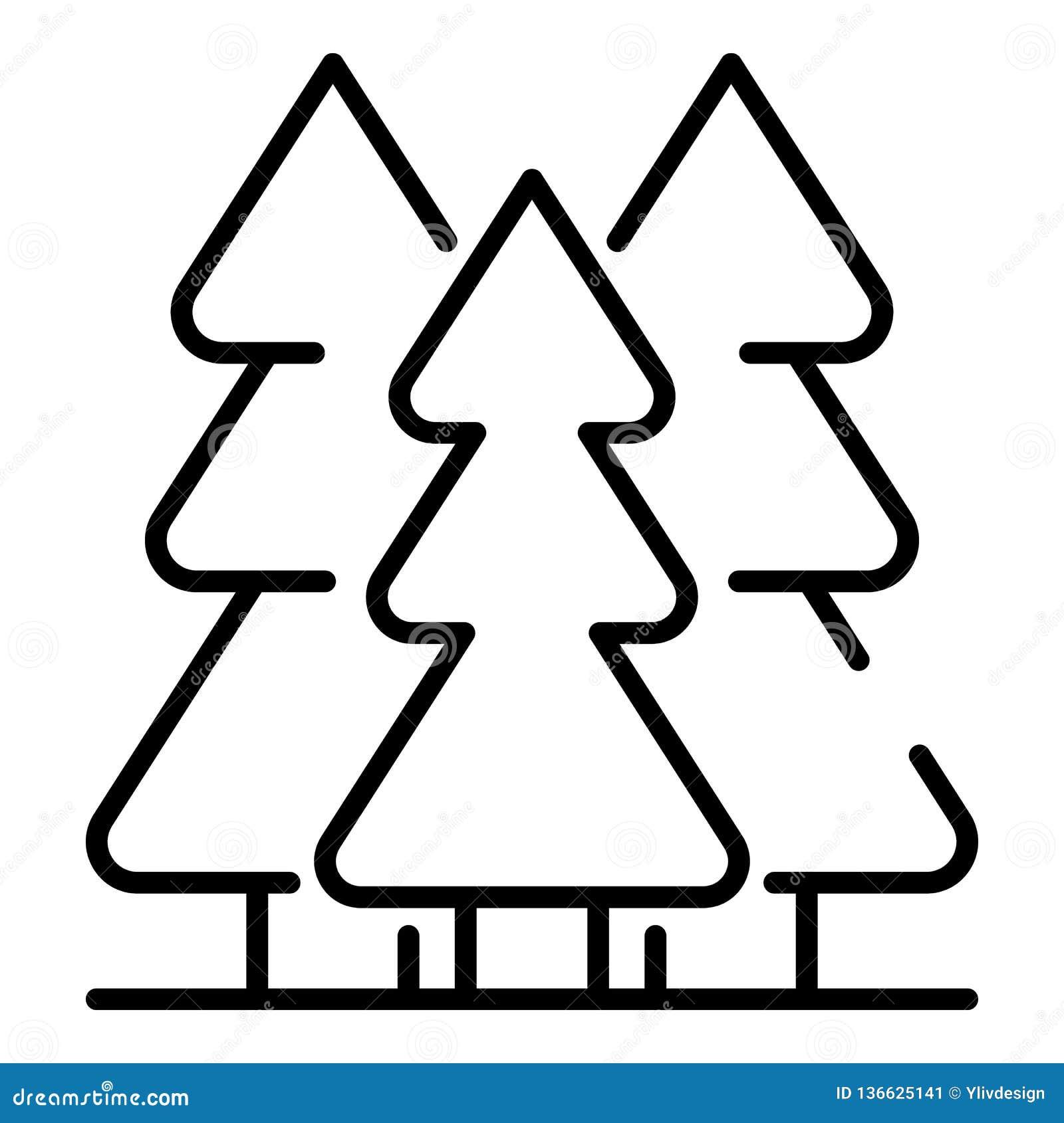 Mountain Fir Tree Icon, Outline Style Stock Vector ...
