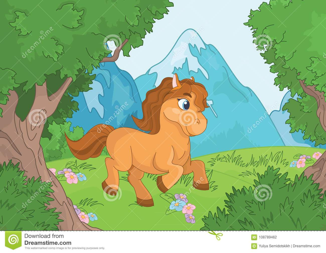 Mountain Forest Landscape With Horse Stock Vector Illustration Of Invitation Background 108789462