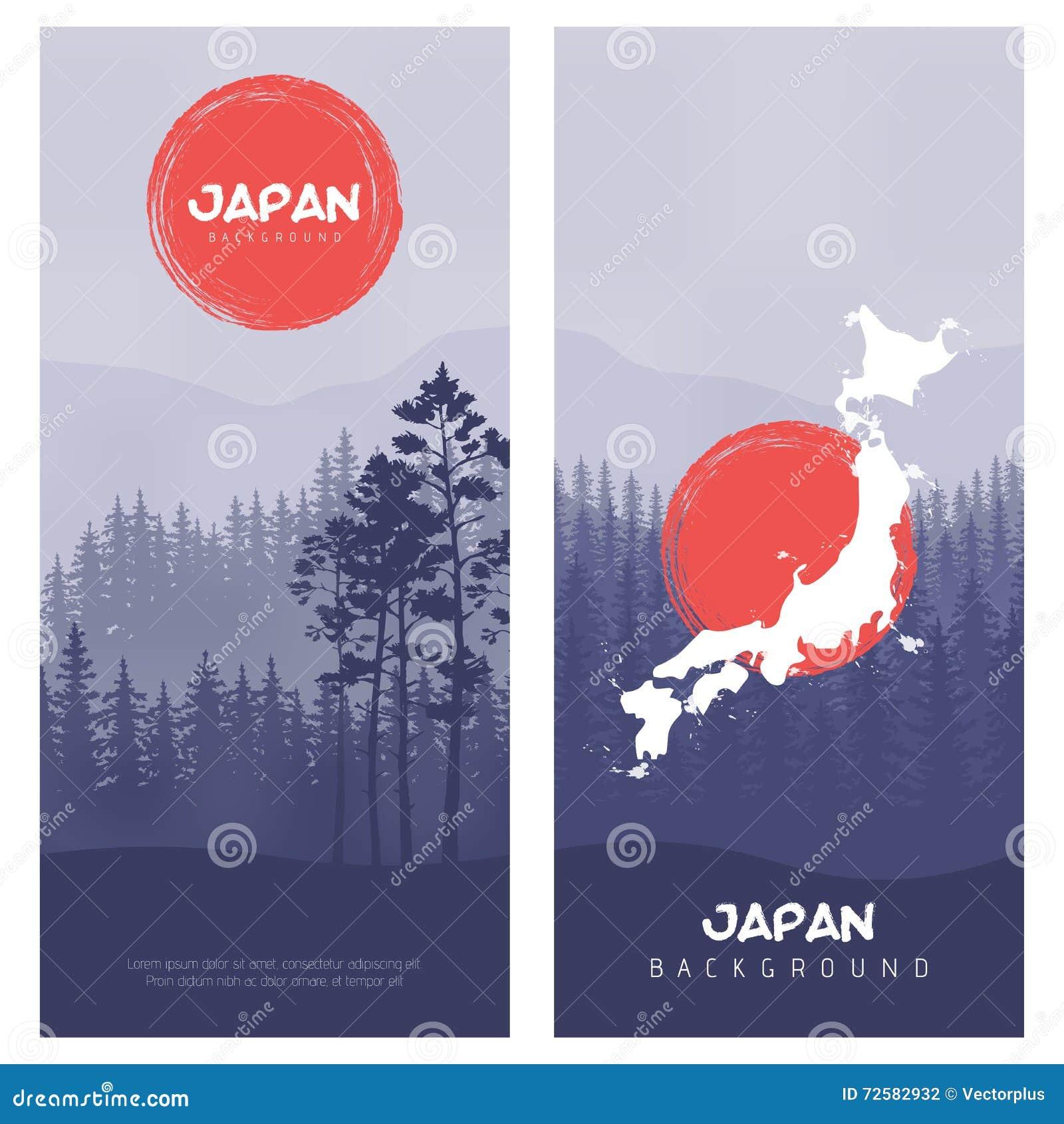 mountain and forest landscape illustration of japan flag vector
