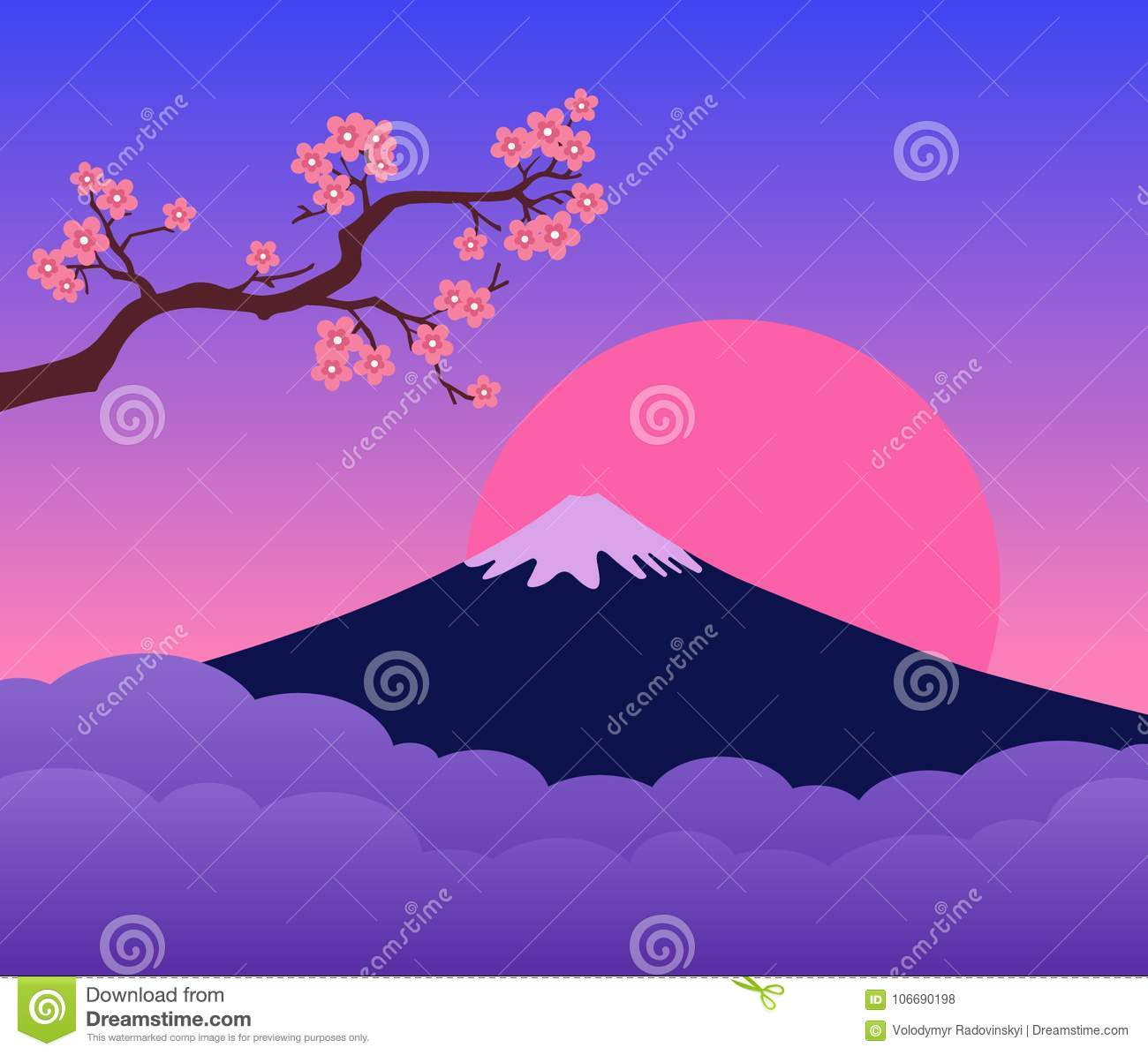 Mountain Fuji Japan Sunset and Cherry Blossoms Branch