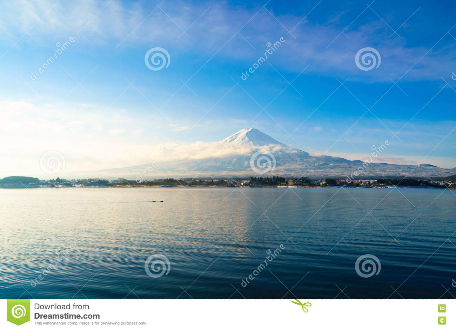 Mountain fuji and lake kawaguchi, Japan .